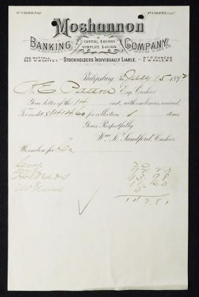 Moshannon Banking Company [letterhead] 1892 addressed to Alexander Ennis Patton