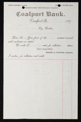 Coalport Bank [letterhead] 1892 addressed to Alexander Ennis Patton