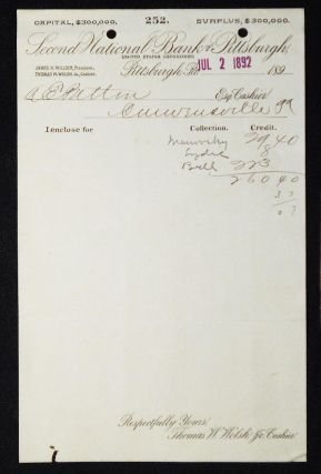 Second National Bank of Pittsburgh, United States Depository [letterhead] 1892 addressed to...