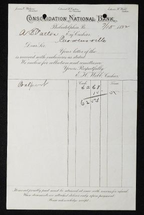 Consolidation National Bank, Philadelphia, Pa. [letterhead] 1892 addressed to Alexander Ennis Patton