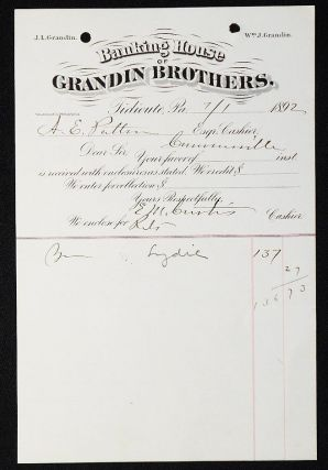 Banking House of Grandin Brothers [letterhead] 1892 addressed to Alexander Ennis Patton