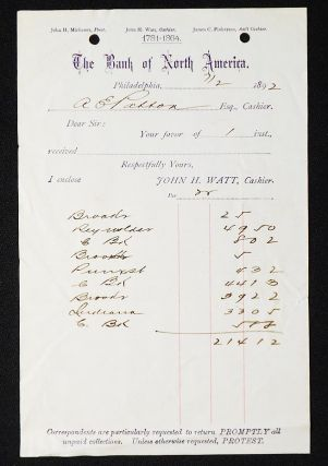 The Bank of North America [letterhead] 1892 addressed to Alexander Ennis Patton