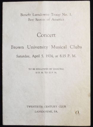 Concert Brown University Musical Clubs -- April 5, 1924 -- Twentieth Century Club, Lansdowne, Pa