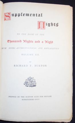 Supplemental Nights to The Book of the Thousand Nights and a Night -- vol. 3. Richard Francis Burton