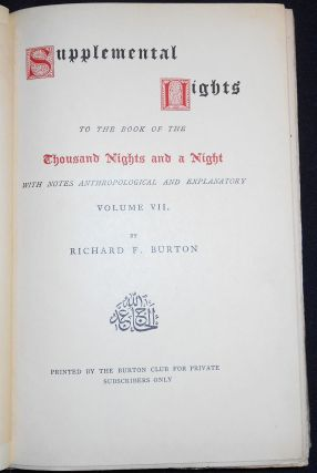 Supplemental Nights to The Book of the Thousand Nights and a Night -- vol. 7. Richard Francis Burton