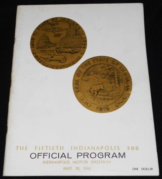 The Fiftieth Indianapolis 500 Official Program, Indianapolis Motor Speedway May 30, 1966