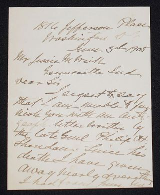 Handwritten Letter by Irene Rucker Sheridan, widow of General Philip Sheridan. Irene Rucker Sheridan