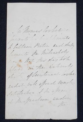 Handwritten letter to Captain Porter concerning the accidental death of Lieutenant Cocke on the...
