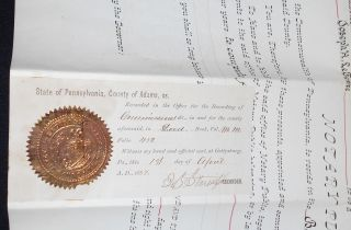 Commission from Pennsylvania Governor James A. Beaver naming Joseph H. LeFevre, Esquire, of Littlestown, Adams Co., a Notary Public