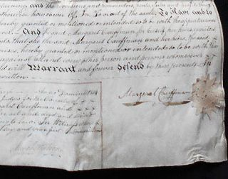 Handwritten Vellum Indenture for Sale of Woodland in Providence Township, Montgomery Co., by Margaret Cauffman to Isaac Overholtzer