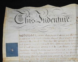 Handwritten Parchment Deed for sale of Six Cottages in Grantham, Lincolnshire