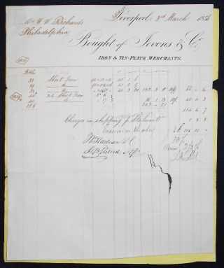 Receipt and Shipping Document for Sheet Iron Imported from Jevons & Co., Liverpool. William W....