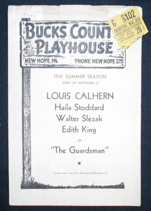 Bucks County Playhouse program for Ferenc Molnar's The Guardsman with ticket stub