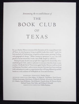 Announcing the re-establishment of the Book Club of Texas