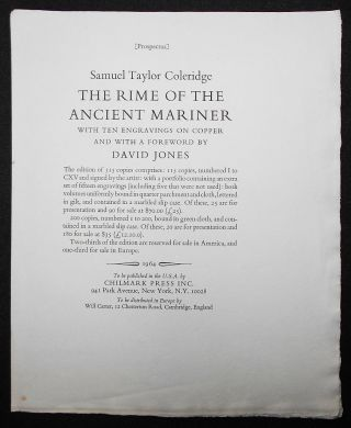 Prospectus for The Rime of the Ancient Mariner by Samuel Taylor Coleridge with Ten Engravings on...