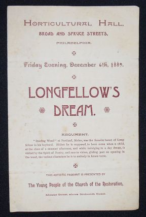 Longfellow's Dream: This Artistic Pageant is Presented by the Young People of the Church of the...